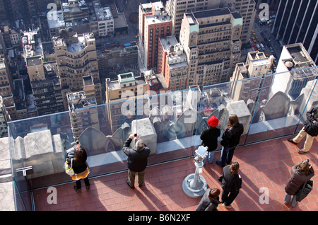 tourists taking pictures, Top of the Rock Observation deck, 30 Rockefeller Center, Manhattan, New York City, USA - Stock Photo