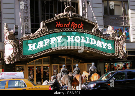 Mounted police in front of Hard Rock Cafe, Times Square, New York City - Stock Photo
