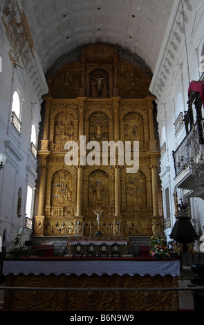 Interiors of the Se Cathedral Old Goa India - Stock Photo
