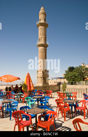 Mardin's Ulu Camii, Great Mosque, Minaret from cafe patio - Stock Photo