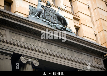 sign above entrance to commonwealth bank of australia building in pitt street,sydney - Stock Photo
