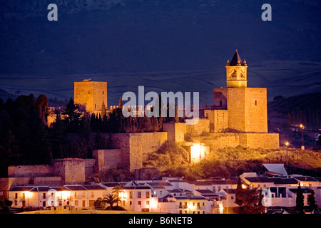castle tower at sunset and citadel in the monumental city of Antequera malaga andalusia spain - Stock Photo