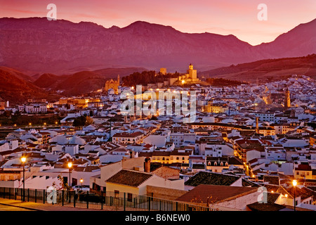 Panoramic sunset of the monumental city of Antequera malaga andalusia spain - Stock Photo