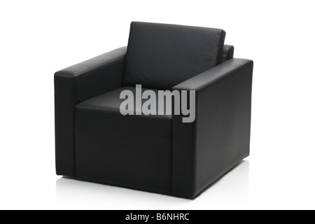 Living Room With Black Leather Chair Bookcase And