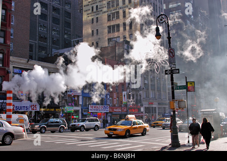 Street repairs, 8th Ave and 40th St., Manhattan, New York City, USA - Stock Photo