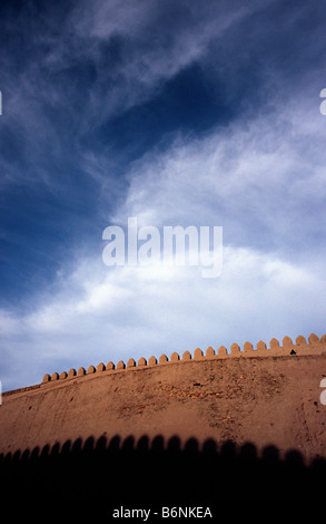 May 13, 2006 - Khiva's crenellated city wall surrounding the Itchan Kala (Inner Town) and dating back to the 17th - Stock Photo