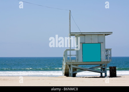 Lifeguard hut on the Malibu beach Blank panel on the front to write anything you want - Stock Photo