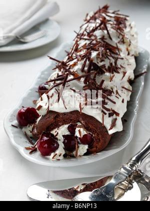 Chocolate log dessert - Stock Photo