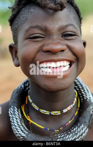himba girl in village near opuwo namibia - Stock Photo