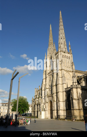Bordeaux France Cathedral St Andre on Place Pey Berland - Stock Photo