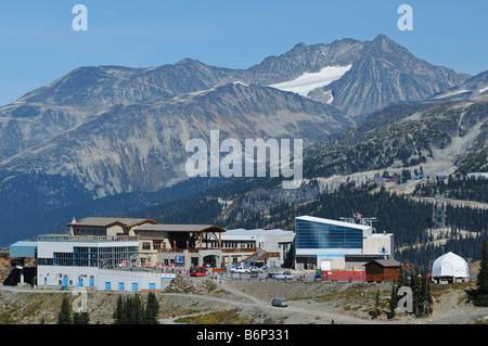 Whistler's Roundhouse Lodge and Peak to Peak Gondola station in summer - Stock Photo