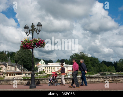 Park lake and casino at Bagnoles de l Orne which is in the Orne 61 departement of France - Stock Photo