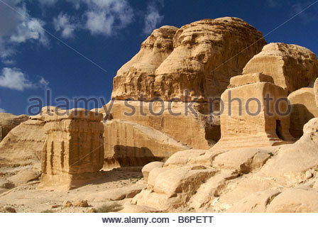 Djinn Blocks - ancient tombs of Petra in Jordan - Stock Photo