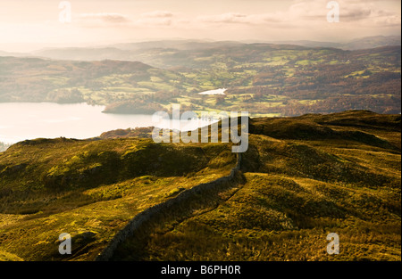 View over Windermere from Wansfell Pike on a sunny autumn morning in the Lake District Cumbria England UK - Stock Photo