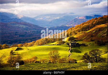 Autumn view over the countryside near Troutbeck and Ambleside in the Lake District Cumbria England UK - Stock Photo