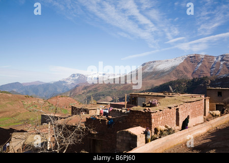 Sidi Faress Morocco  Traditional Berber mountain village house in High Atlas Mountains in winter - Stock Photo