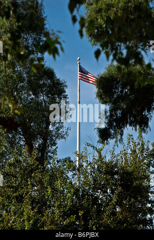 The United States flag flies high while on this sunny day Photo taken 11NOV08 in Los Angeles California - Stock Photo