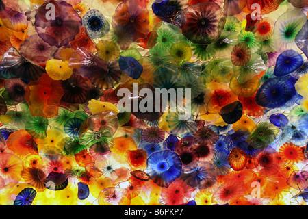 'Fiori di Como', 2,000 hand blown glass flowers on lobby ceiling, Bellagio, Las Vegas - Stock Photo