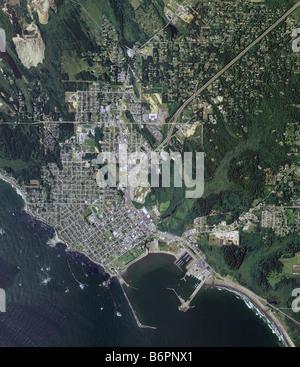 aerial map view above Crescent City del Norte County California - Stock Photo