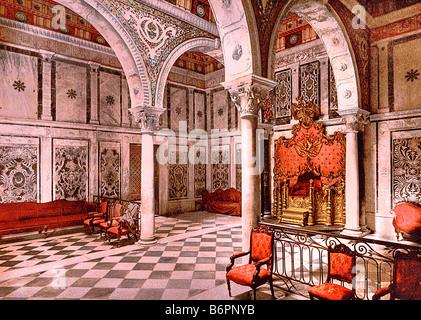 Bardo museum, tribunal chamber of the emir, Tunis, Tunisia - Art image restored to its original state with focus - Stock Photo