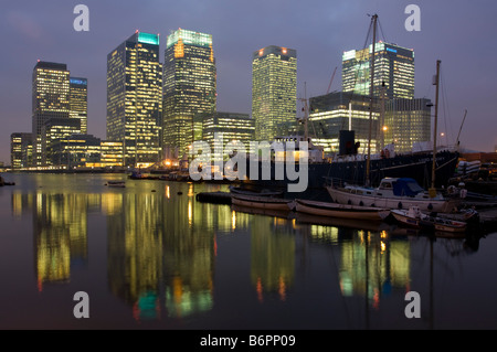 Canary Wharf skyscrapers dusk London - Stock Photo