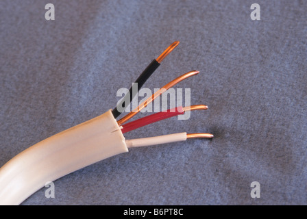 Romex type electrical cable with three conductors for electricity ...