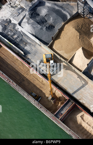 Discharging cargo from an inland vessel, Dortmund-Ems-Canal, Munster - Stock Photo
