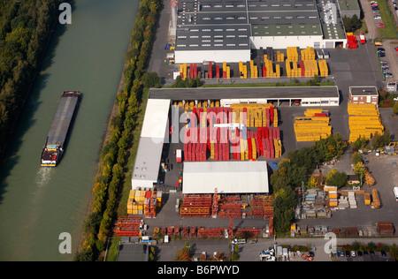 Dortmund-Ems-Canal near Muenster, Germany. Logistics company - Stock Photo