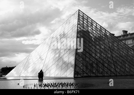 Louvre Museum, the Pyramid by the architect Ieoh Ming Pei, Paris, France, Europe - Stock Photo