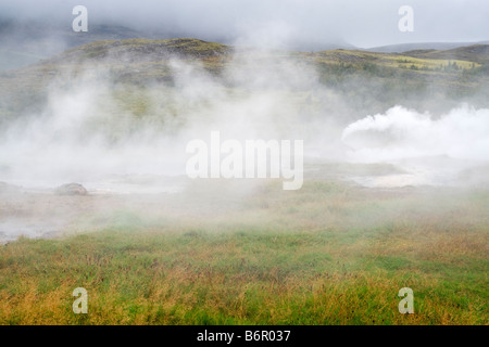 Steamy landscape in Haukadalur valley, Iceland, the location of the geysers Strokkur and Geysir. - Stock Photo