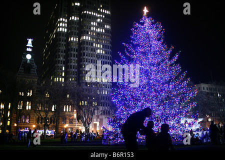 New Haven Connecticut Christmas Tree moments after it was lit. The New Haven City tree used LED lights to conserve - Stock Photo