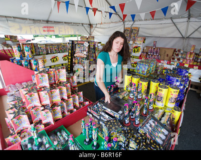A young woman sells legal fireworks in a roadside stand tent in Milford Connecticut USA -  sc 1 st  Alamy & Fireworks for sale for the Fourth of July in Kingsland Texas ...