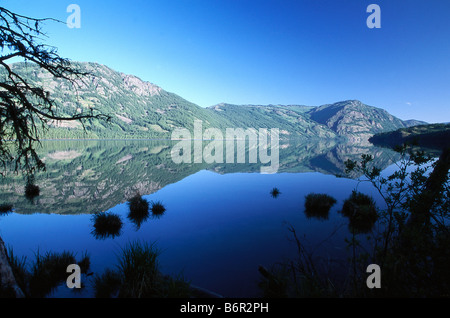Kanas Lake and mountains in Kanas National Park, Altay Mountains, Xinjiang, China - Stock Photo