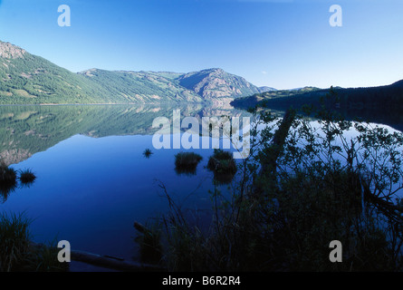 Kanas Lake and mountains in Kanas National Park, Altay Mountains, Xinjiang, China - Stock Photo