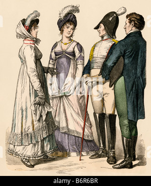 Fashionable Europeans under the French Empire 1809 to 1812. Hand-colored print - Stock Photo