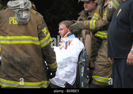 Reenactment of a severe accident scene during fire prevention Stock ...