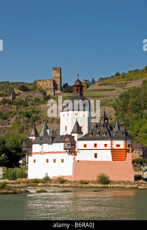 Pfalz Fortress on Rhine River at Kaub with vineyards and Gutenfels Castle in background - Stock Photo
