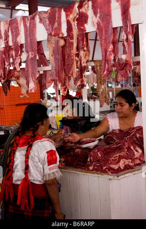 Tlacolula, Oaxaca, Mexico. Tlacolula Meat Market, comprised of numerous small individual stalls. - Stock Photo
