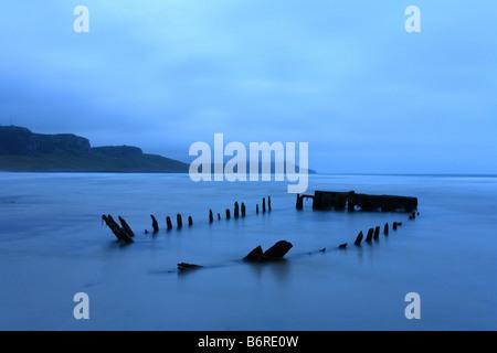 Partly submerged ship wreak 'Machir Bay' Kilchoman, 'Isle of Islay' Inner Hebridies, Scotland - Stock Photo