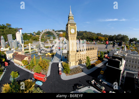 View of Miniland showing central London including models of Big Ben and the London Eye at Legoland Windsor UK - Stock Photo