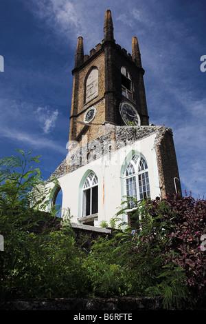Hurricane Damaged Presbyterian Church, St Georges, Grenada, Caribbean. - Stock Photo