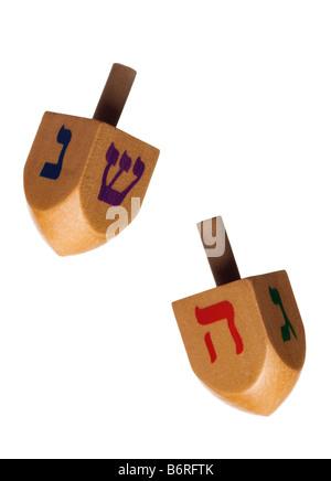 Hanukkah dreidel isolated on white background - Stock Photo