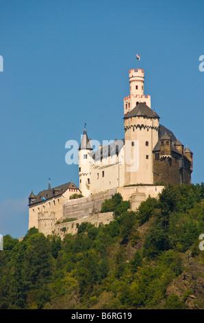 Marksburg Castle overlooking middle Rhine River near Braubach - Stock Photo