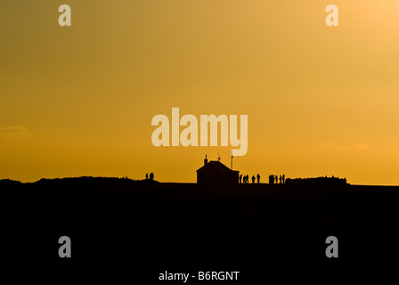 Sunset over on the Gower Coast in Wales. - Stock Photo