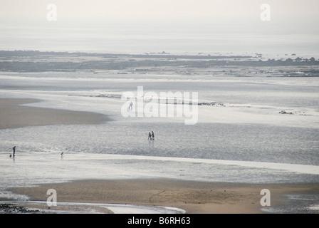 people on beach low tide, St Aubin, Normandy, France - Stock Photo