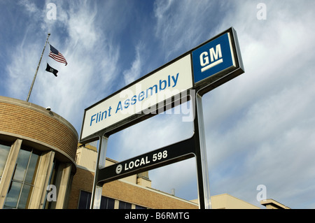 General Motors Flint Assembly factory building and sign in Flint Michigan USA. - Stock Photo