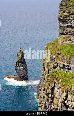 The Cliffs of Moher in County Clare Ireland This is on the Atlantic Ocean coastline - Stock Photo
