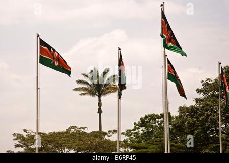 Kenyan flag Nairobi Kenya Africa - Stock Photo