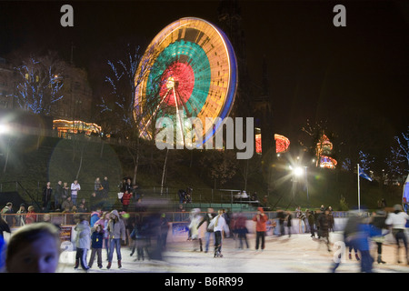 Ferris wheel and ice rink at the east end of Princes Street Edinburgh