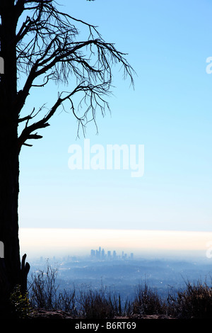 Los Angeles skyline in distance - Stock Photo